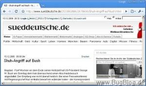 Shuhangriff auf Bush